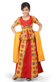 PRINTED COTTON LEHENGA IN YELLOW AND RED