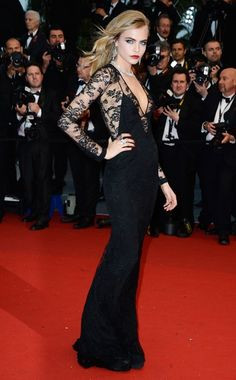 Cara Delevingne in Burberry Prorsum Cannes 2013