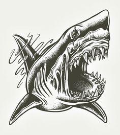 Ideas for tattoo old school shark ink, Art Drawings Sketches, Tattoo Sketches, Tattoo Drawings, Tattoo Illustrations, Shark Tattoos, Animal Tattoos, Body Art Tattoos, Hammerhead Shark Tattoo, Behance Illustration