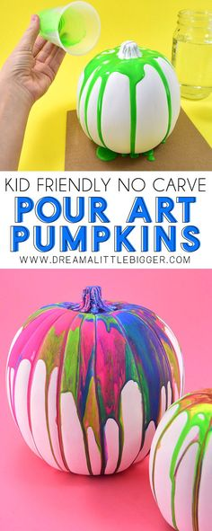 These colorful drippy no carve pour art pumpkins are super easy and use washable paint making it the perfect Halloween kid craft! Click through for a few tips and tricks so you can achieve pretty results! Care Skin Condition and Treatment Oil Makeup Pumpkin Painting Party, Pumpkin Art, Pumpkin Crafts, Pumpkin Carving, Pumpkin Ideas, Halloween Arts And Crafts, Halloween Kids, Halloween Pumpkins, Halloween Party