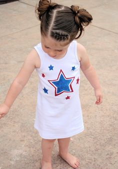 DIY dress tutorial Stencil a Red, White and Blue dress for the 4th of July from Crazy Little Projects