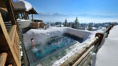 Climb the Swiss Alps in Switzerland. Hit the slopes, then relax in this heated pool at Lecrans hotel spa, Switzerland. Outdoor Heated Pools & Spas are definitely must Photo by © Lecrans Hotel & spa Checkout our new travel hub Spa Hotel, Hotel Pool, Dream Vacations, Vacation Spots, Winter Vacations, Vacation Places, Vacation Ideas, The Places Youll Go, Places To See