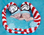 Crocheted Twin Thing One and Thing Two Stocking Caps Photo Prop