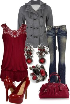 Love the red color and lacy tank.  Jeans are a bit too low cut for me. Hate the shoes.