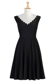 ae894bbb Virginia Dress - Cotton poplin is shaped into our scallop trimmed dress  styled with a wide