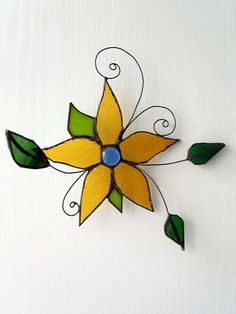 3D Stained glass suncatcher  Yellow flower by SaintGlass on Etsy