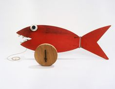 """Fish Pull-toy, 1960 - Alex Calder  american artist   Wood, wire, paint, and string  9 1/2"""" x 26 1/4"""" x 11 1/2""""  Calder Foundation, New York  A00010"""