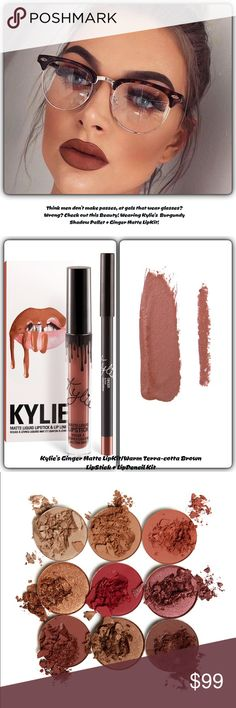 "Nip/The Eyes & Lips/Kylie's /Burgundy & Ginger Nip/Kylie Cosmetics/Ever Heard,""Guys don't make Passes, at Gals wearing Glasses?""I think Kylie's Shown that saying is WRONG! This Beauty wearing Shadows from Burgundy Pallet/& completes her look w Ginger Matte Lip Kit! This listing is for BOTH/Burgundy 9 Shadow Pallet paired with Ginger Matte LipKit! Also sold separately in my Closet! You can create a myriad of looks with these beautiful shadows in varied finishes & textures! And Ginger is one…"