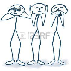 omini stilizzati: Figure stilizzate senza ascoltare nulla da vedere e dire