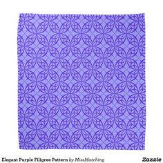 Elegant Purple Filigree Pattern Bandana