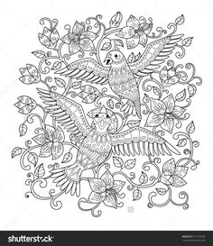 Hand Drawn Decorative Outline Bird In The Bush Flowers Adult Coloring Book Page Vertical Drawing With Ethnic Ornament Vector Illustration