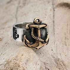 Nautical Anchor ring in 14K Gold and Sterling Silver, FIRST MATE -  men and women ring - wedding, engagement. on Etsy, $599.00