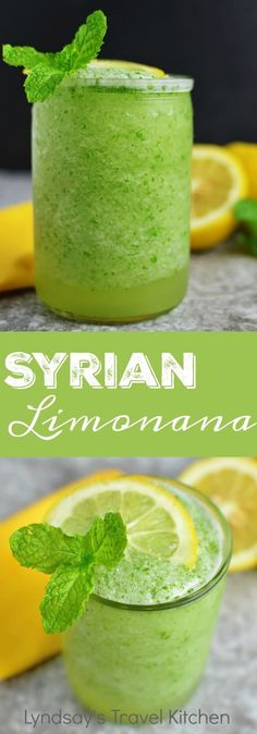 Syrian Limonana, a refreshing mint lemonade from the Middle East. Learn how to make this summer drink at Lyndsaystravelkitchen.com