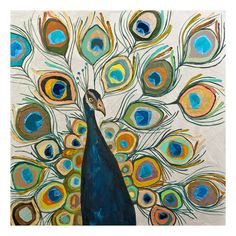 "Found it at Wayfair - ""Peacock Metallic Pearl"" by Eli Halpin Painting Print on Wrapped Canvas"