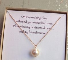 Bridesmaid gift maid of honor gift pearl by WendyShrayDesigns, $34.00