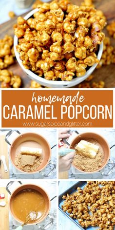 Homemade Caramel Popcorn Caramel Popcorn from Scratch, this easy Chicago-style Salted Caramel Popcorn is the best caramel dessert for fall and delicious used in party mixes or served on its own Homemade Popcorn Recipes, Caramel Corn Recipes, Homemade Desserts, Snack Recipes, Sweet Popcorn Recipes, Carmel Popcorn Recipe Easy, Homemade Carmel Popcorn, Desserts Caramel, Recipes Dinner