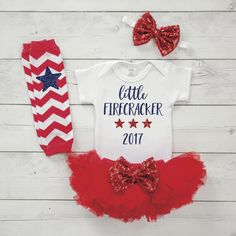 4th of July 2017 Shirt 1st Fourth of July Outfit for Girls Summer Outfit Bodysuit, Baby Girl Tutu Headband Set 029S #4th_of_july_newborn #4th_of_july_outfit #4th_of_july_shirt