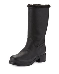 Original Shearling-Lined Pull-On Boot, Black by Hunter Boot at Neiman Marcus.