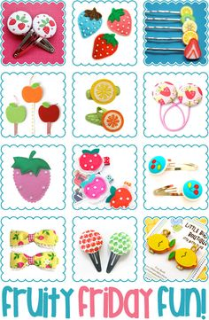 Strawberry, Lemon, Cherry, Apple, Orange Hair Clips