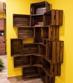 Crate Bookshelf, Bookshelf Storage, Wood Crate Shelves, Record Storage, Wooden Crates, Crates On Wall, Tv Storage, Crate Storage, Diy Home Furniture