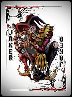 Joker card Cool Playing Cards, Joker Playing Card, Joker Pics, Joker Art, Evil Jester, Wicked Jester, Joker Card Tattoo, Evil Clown Tattoos, Hard Tattoos