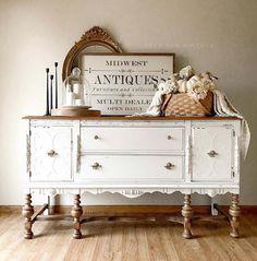 Painted Buffet, White Painted Furniture, Refurbished Furniture, Paint Furniture, Furniture Makeover, Vintage Furniture, Vintage Dressers, Distressed White Bedroom Furniture, White Antique Dresser
