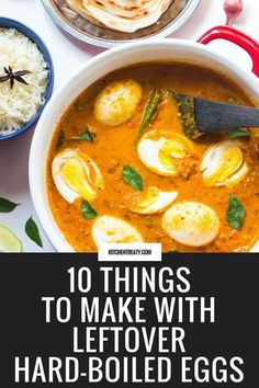 10 Things to Make with Leftover Hard-Boiled Eggs - Loads of creative ideas from salads and sandwiches to curry, deviled eggs, and more. Egg Recipes For Dinner, Healthy Egg Recipes, Leftovers Recipes, Cooking Recipes, What's Cooking, Easy Recipes, Keto Recipes, Boiled Eggs Healthy, Boiled Egg Salad