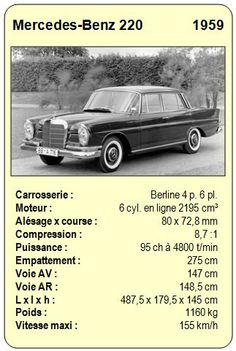 Mercedes-Benz 220 - 1959 Mercedes Benz 220, Top Trumps, Old School Cars, Old Classic Cars, Vintage Games, Courses, Old Cars, Cars And Motorcycles, Hot Wheels