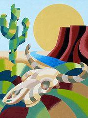 Cubism Art - Abstract Futurist Soutwestern Desert Landscape Oil Painting   by Mark Webster