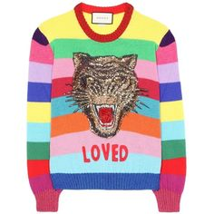 Gucci Loved Rainbow Sweater ($1,600) ❤ liked on Polyvore featuring tops, sweaters, july must haves, kirna zabete, kzloves /, multicolor striped sweater, multi colored striped sweater, rainbow sweater, wool crew neck sweaters and wool sweaters
