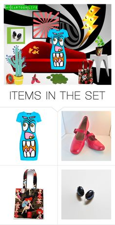 """My Cartoon Life"" by anna-ragland ❤ liked on Polyvore featuring art, contemporary and vintage"