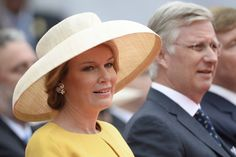 Queen Mathilde and King Philippe of Belgium attend the official commemoration ceremony of the bicentenary of the Battle of Waterloo at the Lion's Mound in Braine-l'Alleud near Waterloo, Belgium on June 18, 2015