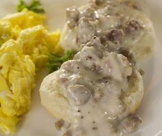 Low-Carb Drop Biscuits with Sausage Gravy