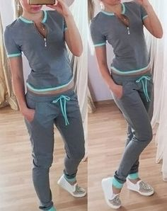 Casual Round Neck Short Sleeve T-Shirt + Drawstring Spliced Pants Twinset For Women Sporty Outfits, Simple Outfits, Cute Outfits, Cheap Pants, Cheap Clothes, Sport Mode, Vetement Fashion, Adidas Outfit, Casual Tops For Women
