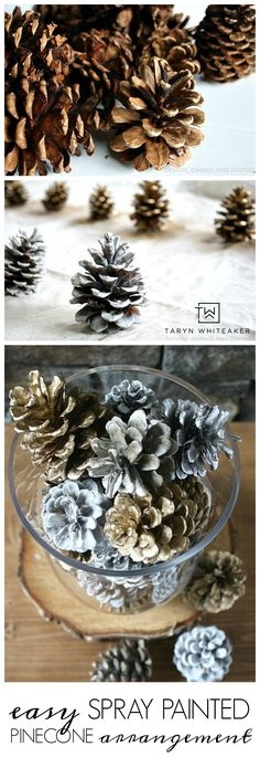 Quick Holiday Decor: Spray Painted Pinecone Arrangement ! This five minute holiday craft will glam up your table for the holidays!