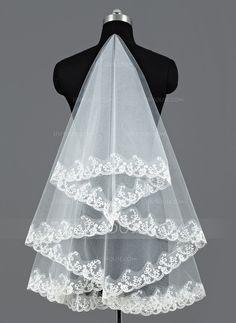 [US$ 5.99] Uno capa Velos de novia vals con Con Aplicación de encaje (006052974)