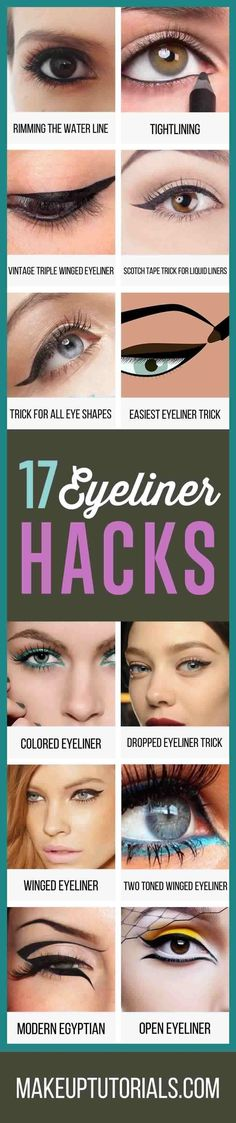 How To Do Really Awesome Eyeliner Hacks   Cool DIY Tips For Doing Perfect Winged Tip Eyeliner By Makeup Tutorials. http://makeuptutorials.com/makeup-tutorials-17-great-eyeliner-hacks/