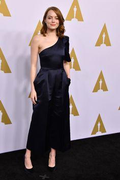 Emma Stone en Stella McCartney à la soirée des nommés des Oscars 2017 à Beverly Hills