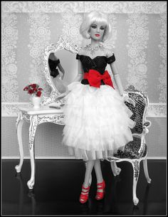 Tonner fashion doll - in black and white with a pop of red - photo by Debby Emerson