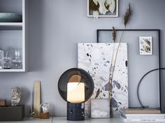 Stunning is the perfect word to describe this ikea table lamp. Modern yet vintage inspired its design is everything we are looking for. Ikea Table Lamp, Ikea, Table Lamp, Grey Table Lamps, Marble Table, Home Decor, Storage Spaces, Marble Tables Living Room, Ikea Table