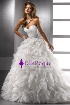 2014 Wedding Dresses Ball Gown Sweetheart Court Train Organza With Beading And Sequince $ 604.99 EQPT735CEQ - EllePoque.com