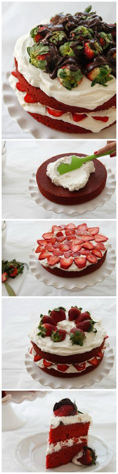 a moist crumbed cake, layered with fresh whipped cream, strawberries and chocolate ganache