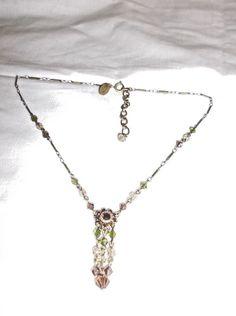 Liz Palacios SF Bronze Tone Necklace, Brown/Green/Yellow Swarovski Crystals EUC #LizPalacios #Cluster