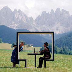 minimalist design, summer picnic, mountains, frames, picnic tables
