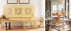 Bright and cheerful yellows perk up furniture even I might categorize as junk. Yellow Painted Furniture, Colorful Furniture, Benjamin Moore Colors, Find Color, Yellow Painting, Cabinet Furniture, Painting Cabinets, Pedestal, Color Combos