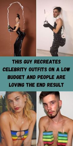 Most people look up to celebrities and their fashion choices, some laugh at them and brush them off as ridiculous. This Romanian artist named Bogdan does both. #Recreates #Celebrity #Outfits #LowBudget