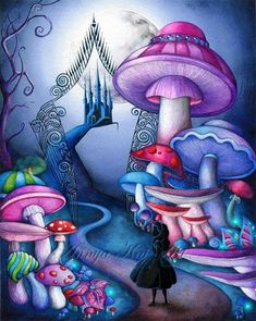 Christmas Gift Guide - Alice Gates to Wonderland  NEW Dark Fantasy Painting by Annya Kai Art on Etsy.