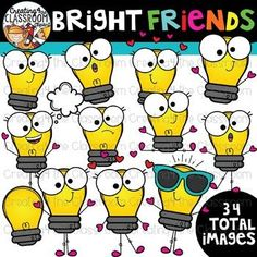 Bright Friends Clipart {Light bulb Clipart} Get ready for Back to School with this vibrant and fun clipart set. This set is perfect for creating and customizing all of your resources (meet the teacher night, newsletters, resources). #creating4theclassroom #backtoschool #teacherfreebie #clipartforteachers