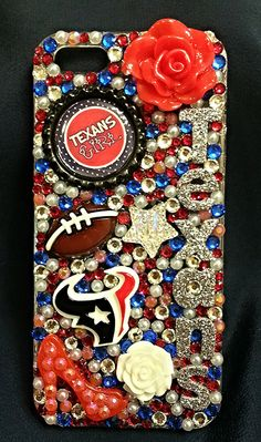 Houston Texans Girly Crystal Case iPhone by livelaughshine on Etsy, $35.00