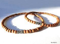 Sandalwood Sterling Silver 925 Bali Bead Bracelet by Bracelets For Men, Beaded Bracelets, Strand Bracelet, Sterling Silver Bracelets, Horns, Bali, Gemstones, Handmade, Accessories